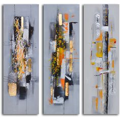 'Amber chaos finding form' 3-piece Hand Painted Canvas Art