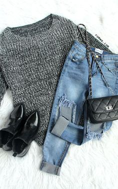Fall Chic - Grey Long Sleeve Loose Sweater from romwe.com