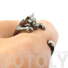 Adorable Kitty Cat Animal Pet Wrap Around Hug Ring in Gunmetal Silver - Size 3 to Size 8.5 - $11.50 #kittens #cats #animals #jewelry #rings #cute