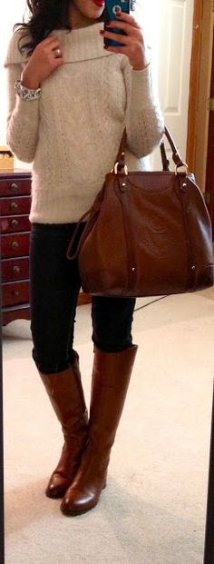 Sweater via Banana Republic, Express Zelda skinny jeans, Etienne Aigner Chip riding boots, Ralph Lauren Chatsworth Leather Drawstring bag vi...