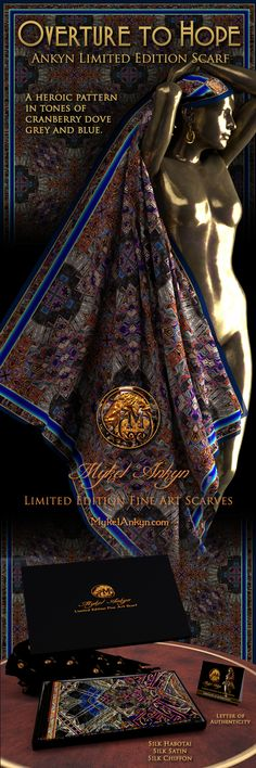 Mykel Ankyn Limited Edition Fine Art Designer Silk Scarves - Overture to Hope - A heroic pattern in tones of cranberry dove grey and blue.