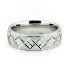 Perfectly carved men's wedding band. Argyle design running around the entire band makes for a fun and elegant look Band Name: Preppy Width: 7 mm Finish: Cross Satin