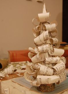 Christmas tree tutorial - made from sheet music.