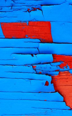 peeling paint in blue and red