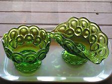 Vintage L.E. Smith green Moon & Stars banana bowl and candy dish  -- reduced