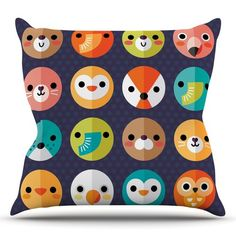 Found it at Wayfair - Smiley Faces by Daisy Beatrice Animals Throw Pillow