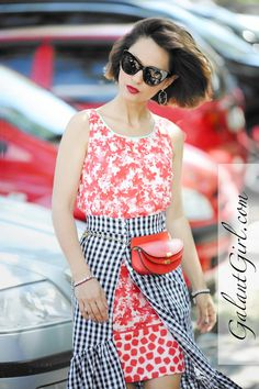 It's only style that matters Pattern Mixing Outfits, Mixing Patterns, Mixing Prints, Gingham Skirt, Striped Dress, Summer Fashion Outfits, Night Outfits, Skirt Outfits, Red Outfits