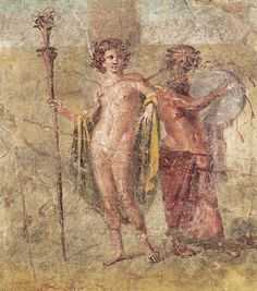 Hermaphrodite and Silenus - wall painting  found House of Cecilio Giocondo, in Pompeii, Roman culture, circa 1st c BC -at the Museum of Naples
