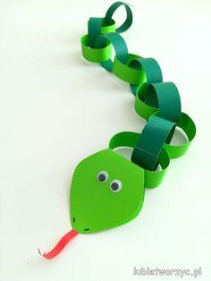 Lubię Tworzyć: Wąż z pasków papieru, a la łańcuch choinkowy
