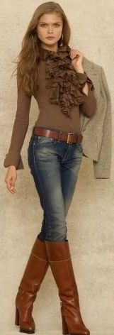 Ralph Lauren, style vestimentaire tradi, chemise marron col jabot, botte marron