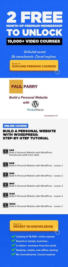 Build A Personal Website with WordPress: Step-by-Step Tutorial Technology, Marketing, Web Development, Blogging, Freelancing, WordPress, Digital Marketing, Lead Generation #onlinecourses #CoursesCollege #onlinecoursesmarketing   Learn the basics of WordPress and build yourself a free website* with the world's favorite content management system (*only pay for hosting and your domain name). Whether ...