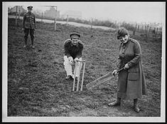 The WAACs in France undertook to invite parties of convalescent soldiers to their camps to play games in their spare time in order to help their recovery. Convalescent soldiers and a WAAC playing cricket at Etaples, 1 May