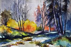 Original Watercolor Painting Autumn Forest by ArtCornerShop