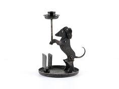 Vintage DACHSHUND candle holder black iron art deco dog candle