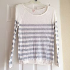 Mossimo Cotton Shirt Light long sleeved shirt. Gray stripes and a mesh pattern. Size Large. 100% Cotton. Mossimo Supply Co Tops Sweatshirts & Hoodies