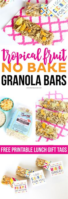 This Tropical Fruit No Bake Granola Bar recipe is great for breakfast or after school snacks! It's seriously the BEST granola bar ever! You can also download these cute lunch box printable gift tags to go with these! #BRMOats @bobsredmill