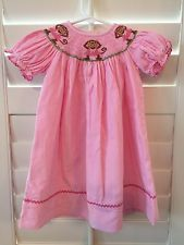 Anavini Hand Smocked Monkey Bishop Dress, Pink Corduroy, 18 Months