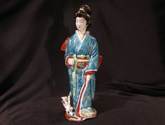 Antique Japanese Kutani Imari Porcelain Figure Statue Lady with Pet | eBay