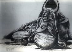 This is a cool charcoal drawing because the shoes are so detailed and its really focused on placement of the shoes. The background shading puts an emphasis on the light texture of the shoes allowing them to pop off the page better.