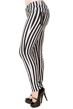 Banned Apparel Punk Goth Steampunk Striped Skinny Jeans                                                                                                                                                                                 More