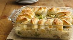 Chicken Alfredo Biscuit Casserole I could do this with a GF biscuit (Bisquik) crust. Any ideas for upping the fiber and lowering the fat? The comments on it said frozen vegies were making the crust soggy.