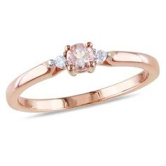 3.5mm Morganite and Diamond Accent Promise Ring in Rose Rhodium Plated Sterling Silver - View All Rings - Zales