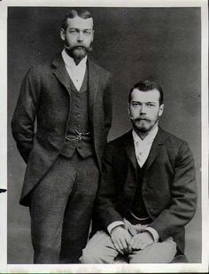 Cousins: King George V/ Britain  Tsar Nicholas II/ Russia. Their mothers were sisters