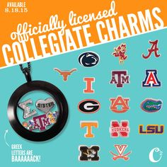Officially licensed #Collegiate #Charms for your #OrigamiOwl #lockets coming 8/18/15 These make great #gifts SHOP - PARTY - SELL!
