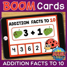 THIS IS AN INTERACTIVE DIGITAL RESOURCE. Download the preview to play a shortened version of the Boom Deck – this will help you decide if the resource is suitable for your students.  ABOUT THIS BOOM DECK: This Spring Addition Facts to 10 Task Cards Boom Deck is packed full of spring-themed addition facts to 10. Super practice for students to consolidate their fact knowledge, plus it's interactive and fun too!