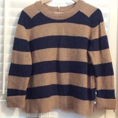 Lands'end Canvas sweater size Medium Cute sweater tan and navy stripes! Very warm and stylish! 55% cotton, 25% wool and 20% nylon. Lands' End Tops
