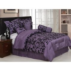 """7 Pieces Purple with Black Velvet Floral Flocking Comforter (92""""x90"""" in Inch) Set Bed-in-a-bag Queen Size Bedding  3.9 out of 5 stars  See all reviews (21 customer reviews) 