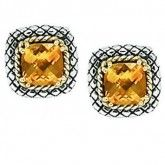 18K and Sterling Silver 7mm Cushion Citrine Button Earrings available at Baxter's Fine Jewelry.