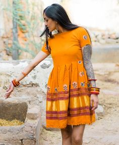 Orange Handwoven and Hand Embroidered Pleated Light Wool Dress