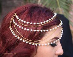 Bridal 3 tier Gold Chain / Pearl Hair Chain Comb, Wedding Hair Accessories, Bridal Hair Comb, Gold comb