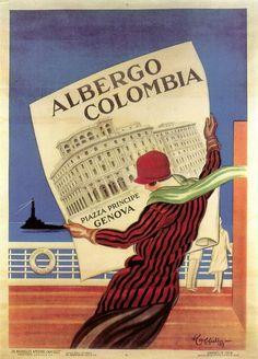1927 VINTAGE POSTER - ALBERGO COLOMBIA