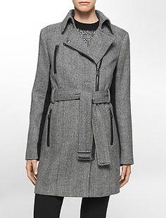wool herringbone zip front trench coat from Calvin Klein