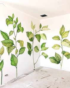 Leaves on a wall. Wall Painting Decor, Wall Decor, Room Decor, Wall Painting Flowers, Mural Art, Wall Murals, Deco Cool, Wall Drawing, Wall Treatments
