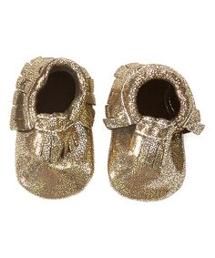 Look at this Khykouture Black & Gold Glitter Fringe Leather Moccasin Booties on #zulily today!