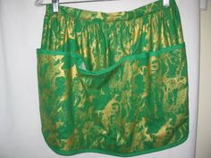 Skirt Apron in Green & Gold   2041 by TheKraftyKats on Etsy (Accessories, Apron, Half, green, gold, christmas, st patricks day, apron, skirt apron, accessories, hostess apron, kitchen apron, handmade apron, women's apron, retro apron, cute apron)