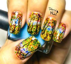 Watercolor Forest Nail Art Tutorial #nail #nails #NailArt #NailPolish #NailDesign #NailTutorial #NailArtTutorial #Tutorial #Art