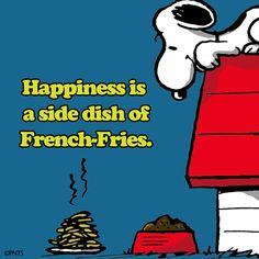 Felicidade é um prato de batata-frita como acompanhamento.