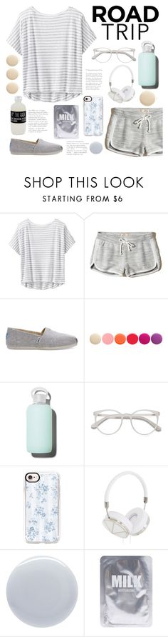 """Road Trip Fashion"" by belleshines ❤ liked on Polyvore featuring Athleta, Hollister Co., TOMS, Deborah Lippmann, bkr, EyeBuyDirect.com, Casetify, Frends, Lapcos and Belmondo"