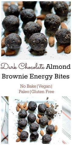 Dark Chocolate Almond Brownie Energy Bites are soooo simple with only 5 ingredients & 5 mins of your time. Refined sugar free!!
