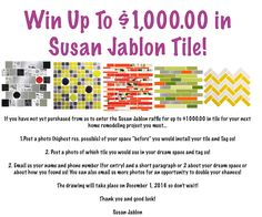 #WIN UP TO $1,000.00 IN SUSAN JABLON TILE!   #home #homedesign #homedecor #homeimprovement #kitchen #bathroom#pool #remodel #renovate #interior #interiordesign #interiordesignideas #interiorstyle #interiorstyling #interiordecor #interiordesigner #interiors #style #decor #decorideas #architectue #susanjablon #tile #interior123 #interior4all #instagood #instastyle #build #construction