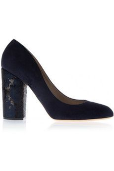 Marc Jacobs Sequin-embellished suede pumps   THE OUTNET