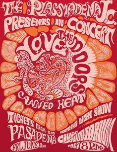 The Doors / Love / Canned Heat / West Coast Pop Art Experimental Band - Concert Poster (1967) -  (Civic Auditorium, Pasadena, California, Friday June 2, 1967) #poster [•‡•]