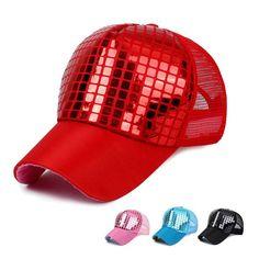 Lady Baseball Cap Women Sequined Shiny Peaked Cap Casual Snapback Mesh Hat