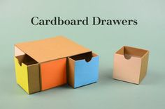 How to make Cardboard Drawers 2 This is a tutorial video on how to make drawers from cardboard. The drawers are ideal to store jewelry /small office stuffs. Cardboard Drawers, Cardboard Organizer, Cardboard Storage, Diy Storage Boxes, Cardboard Toys, Diy Drawers, Craft Storage, Cardboard Houses, Cardboard Playhouse