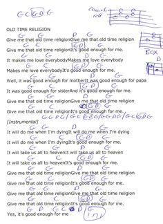 Old Time Religion (Gospel) Guitar Chord Chart in G Major