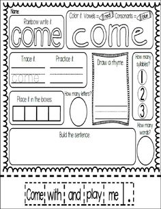 FREEBIE! Meaningful and fun sight word work with the word COME!